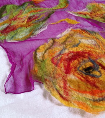 nuno felted scarf -Colour Me Perfect-