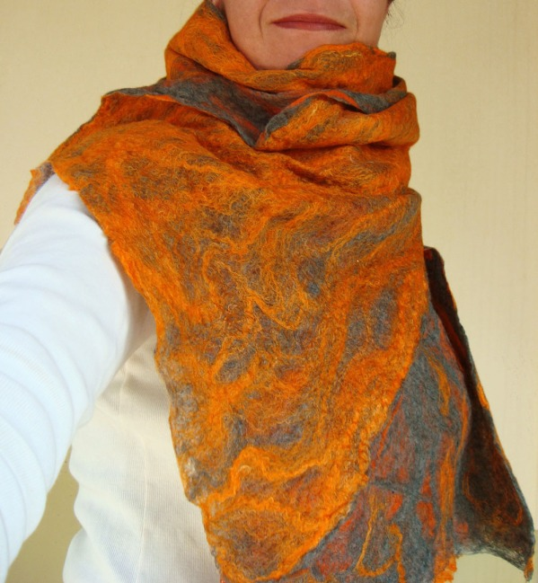 cobweb felted scarf -vitamin orange-