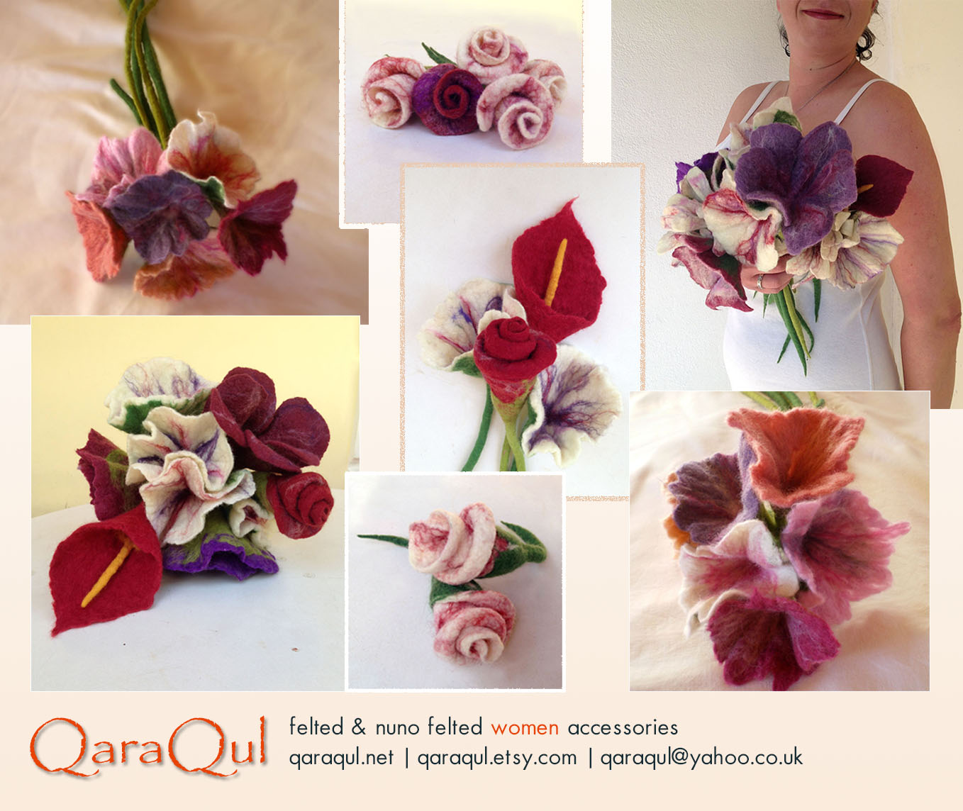 Felted Flower Bouquet Unique Moments Made To Order Qaraquls Shop